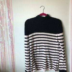 Gap black and white stripe sweater with mock neck
